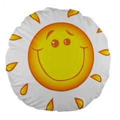 Domain Cartoon Smiling Sun Sunlight Orange Emoji Large 18  Premium Flano Round Cushions by Alisyart
