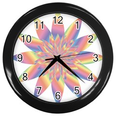 Chromatic Flower Gold Rainbow Star Wall Clocks (black) by Alisyart