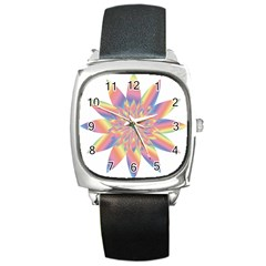 Chromatic Flower Gold Rainbow Star Square Metal Watch by Alisyart