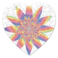 Chromatic Flower Gold Rainbow Star Jigsaw Puzzle (heart) by Alisyart