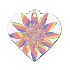 Chromatic Flower Gold Rainbow Star Dog Tag Heart (two Sides) by Alisyart