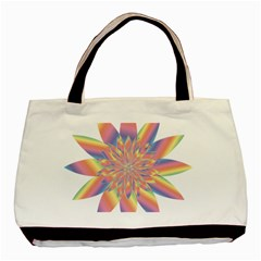 Chromatic Flower Gold Rainbow Star Basic Tote Bag (two Sides) by Alisyart