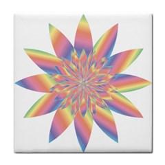 Chromatic Flower Gold Rainbow Star Face Towel by Alisyart