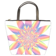 Chromatic Flower Gold Rainbow Star Bucket Bags by Alisyart
