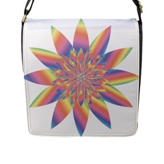 Chromatic Flower Gold Rainbow Star Flap Messenger Bag (l)  by Alisyart