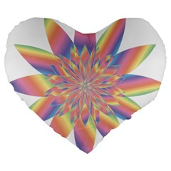 Chromatic Flower Gold Rainbow Star Large 19  Premium Flano Heart Shape Cushions by Alisyart