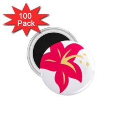 Flower Floral Lily Blossom Red Yellow 1 75  Magnets (100 Pack)  by Alisyart