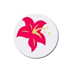 Flower Floral Lily Blossom Red Yellow Rubber Coaster (round)  by Alisyart