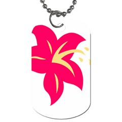 Flower Floral Lily Blossom Red Yellow Dog Tag (two Sides) by Alisyart