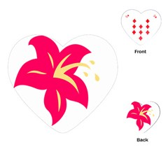 Flower Floral Lily Blossom Red Yellow Playing Cards (heart)  by Alisyart