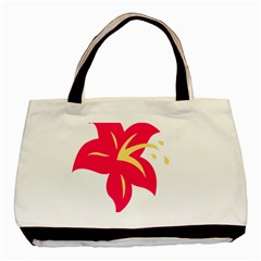 Flower Floral Lily Blossom Red Yellow Basic Tote Bag by Alisyart