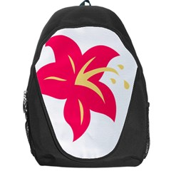 Flower Floral Lily Blossom Red Yellow Backpack Bag by Alisyart