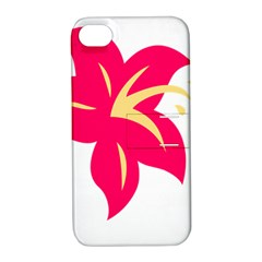 Flower Floral Lily Blossom Red Yellow Apple Iphone 4/4s Hardshell Case With Stand by Alisyart