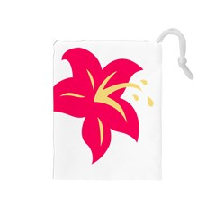 Flower Floral Lily Blossom Red Yellow Drawstring Pouches (medium)  by Alisyart