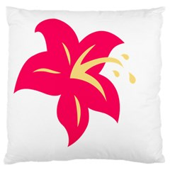 Flower Floral Lily Blossom Red Yellow Large Flano Cushion Case (two Sides) by Alisyart