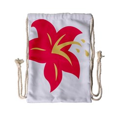 Flower Floral Lily Blossom Red Yellow Drawstring Bag (small) by Alisyart