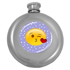 Face Smile Orange Red Heart Emoji Round Hip Flask (5 Oz) by Alisyart