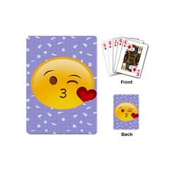Face Smile Orange Red Heart Emoji Playing Cards (mini)  by Alisyart