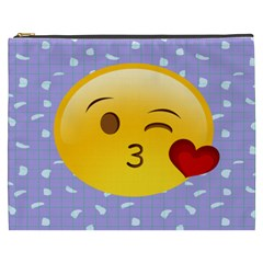 Face Smile Orange Red Heart Emoji Cosmetic Bag (xxxl)  by Alisyart