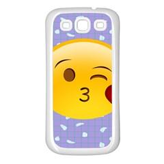 Face Smile Orange Red Heart Emoji Samsung Galaxy S3 Back Case (white) by Alisyart