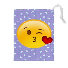 Face Smile Orange Red Heart Emoji Drawstring Pouches (extra Large) by Alisyart
