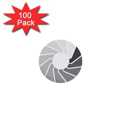 Flower Transparent Shadow Grey 1  Mini Buttons (100 Pack)  by Alisyart