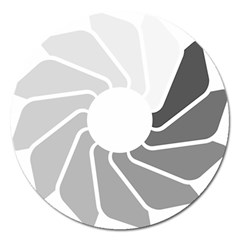 Flower Transparent Shadow Grey Magnet 5  (round) by Alisyart