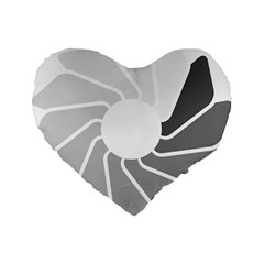 Flower Transparent Shadow Grey Standard 16  Premium Flano Heart Shape Cushions by Alisyart