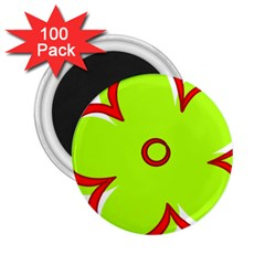 Flower Floral Red Green 2 25  Magnets (100 Pack)