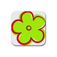 Flower Floral Red Green Rubber Coaster (square)  by Alisyart