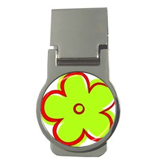 Flower Floral Red Green Money Clips (round)  by Alisyart