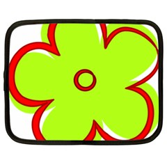 Flower Floral Red Green Netbook Case (xl)  by Alisyart