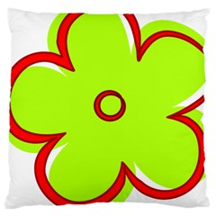 Flower Floral Red Green Large Cushion Case (two Sides) by Alisyart