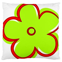 Flower Floral Red Green Large Flano Cushion Case (two Sides) by Alisyart