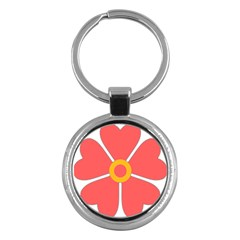 Flower With Heart Shaped Petals Pink Yellow Red Key Chains (round)  by Alisyart