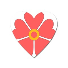 Flower With Heart Shaped Petals Pink Yellow Red Heart Magnet by Alisyart