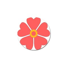 Flower With Heart Shaped Petals Pink Yellow Red Golf Ball Marker by Alisyart