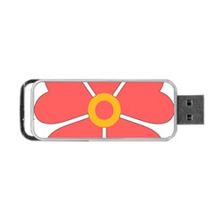 Flower With Heart Shaped Petals Pink Yellow Red Portable Usb Flash (two Sides) by Alisyart