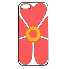 Flower With Heart Shaped Petals Pink Yellow Red Apple Iphone 5 Seamless Case (black) by Alisyart
