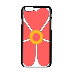 Flower With Heart Shaped Petals Pink Yellow Red Apple Iphone 6/6s Black Enamel Case by Alisyart