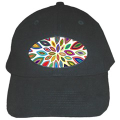 Chromatic Flower Petals Rainbow Black Cap by Alisyart