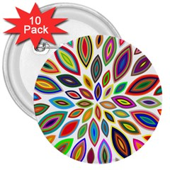 Chromatic Flower Petals Rainbow 3  Buttons (10 Pack)  by Alisyart