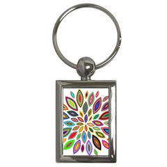 Chromatic Flower Petals Rainbow Key Chains (rectangle)  by Alisyart