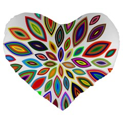 Chromatic Flower Petals Rainbow Large 19  Premium Flano Heart Shape Cushions by Alisyart
