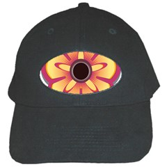 Flower Floral Hole Eye Star Black Cap by Alisyart