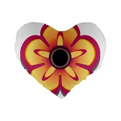 Flower Floral Hole Eye Star Standard 16  Premium Flano Heart Shape Cushions by Alisyart