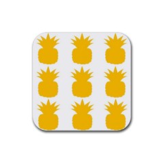 Fruit Pineapple Printable Orange Yellow Rubber Square Coaster (4 Pack)  by Alisyart