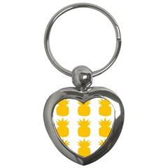 Fruit Pineapple Printable Orange Yellow Key Chains (heart)  by Alisyart