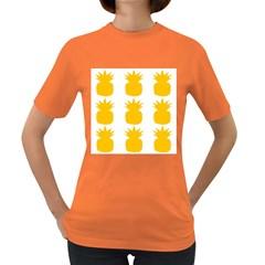 Fruit Pineapple Printable Orange Yellow Women s Dark T Shirt