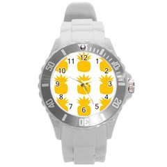 Fruit Pineapple Printable Orange Yellow Round Plastic Sport Watch (l) by Alisyart